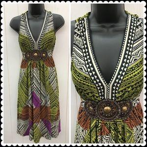 ICE Clothing V-neck Dress w/Tieback Sz Small